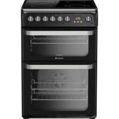 Hotpoint HUE61KS 60Cm Electric Cooker With Double Oven & Ceramic Hob