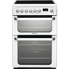 Hotpoint HUE61PS 60Cm Electric Cooker With Double Oven & Ceramic Hob