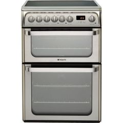 Hotpoint HUE61XS Electric Cooker With 4 Burner Ceramic Hob