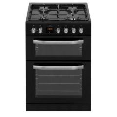 New World NWMID63GB 60Cm Twin Cavity Gas Cooker - Black