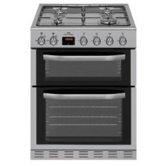 New World NWMID63GS 60Cm Twin Cavity Gas Cooker - Silver